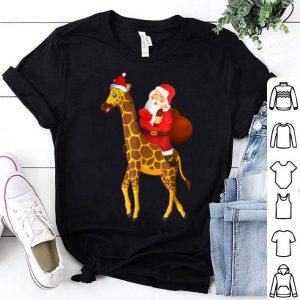 Pretty Santa Riding Giraffe Christmas Pajama Gifts Xmas Funny shirt