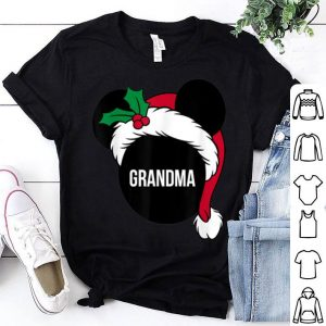 Top Disney Mickey Mouse Santa Hat GRANDMA Holiday Family shirt