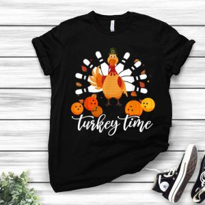 Top Funny Turkey Time gift Thanksgiving Bowling Turkey day tee shirt