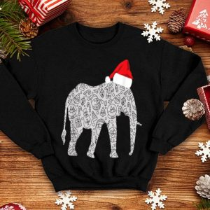 Top Santa Hat Elephant Christmas Zoo Animal Lover Gift sweater