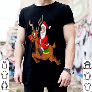 Beautiful Santa Claus Riding Reindeer Christmas Boys Girls Kids Xmas sweater