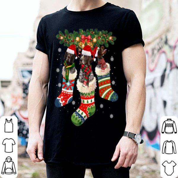 Beautiful Three German Shorthaired Pointer In Sock Christmas Santa Hat sweater