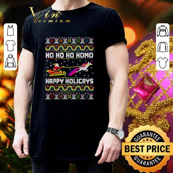 Nice Santa Unicorn Ho ho ho Homo Happy Holigays Christmas LGBT sweater