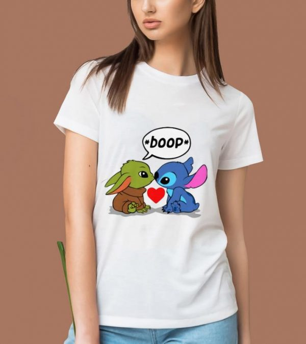 Official Baby Yoda Kiss Baby Stitch Boop shirt