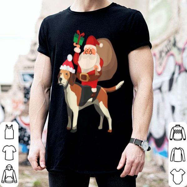 Top Santa Riding Beagle Christmas Pajama Gift sweater