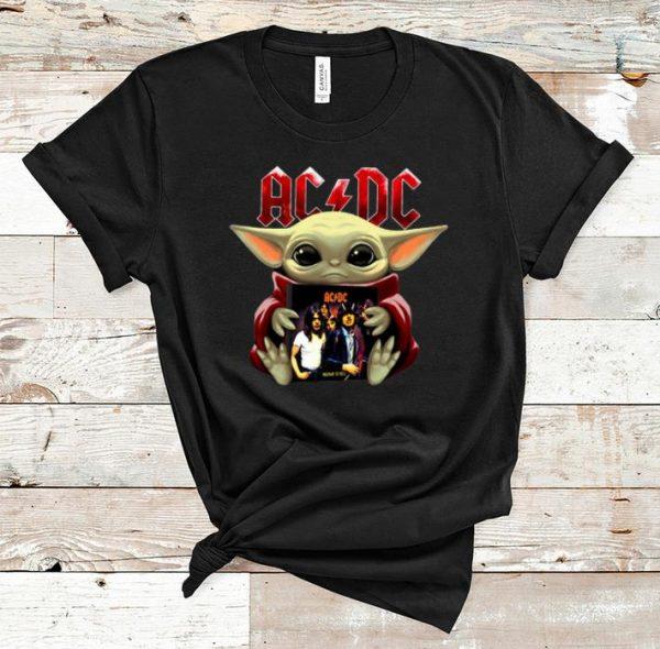 Great Star Wars Baby Yoda Hug ACDC shirt