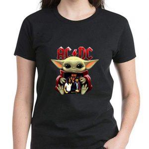 Great Star Wars Baby Yoda Hug ACDC shirt 2