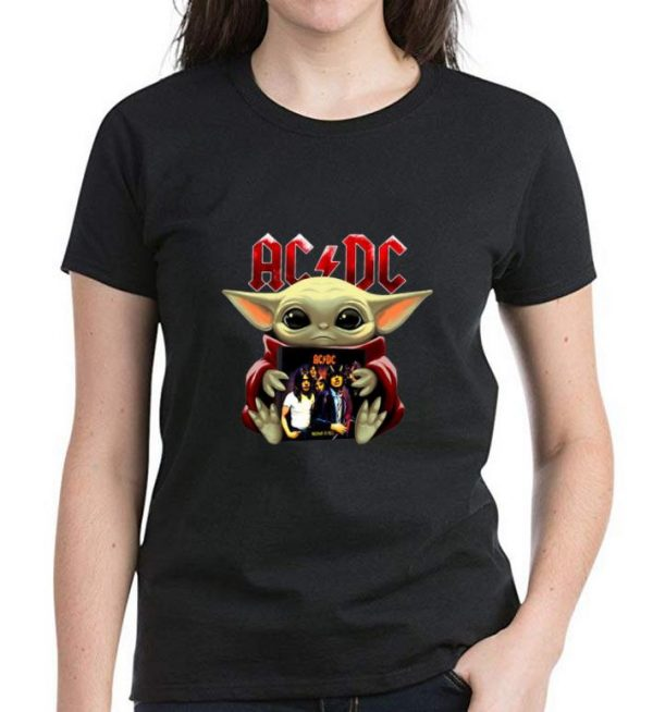 Great Star Wars Baby Yoda Hug ACDC shirt