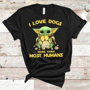 Premium Star Wars Baby Yoda I Love Dogs More Than Most Humans shirt