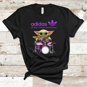 Hot Baby Yoda Adidas all day I dream about Drum shirt