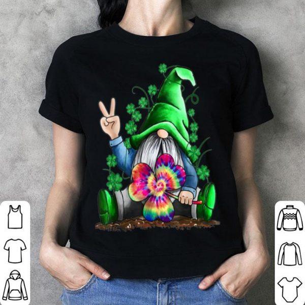 Beautiful Gnome Hippie Shamrock Tie Dye Leprechaun Gnomies St Patricks shirt