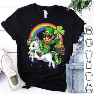 Nice Leprechaun Riding Unicorn St Patricks Day Girls Lepricorn shirt