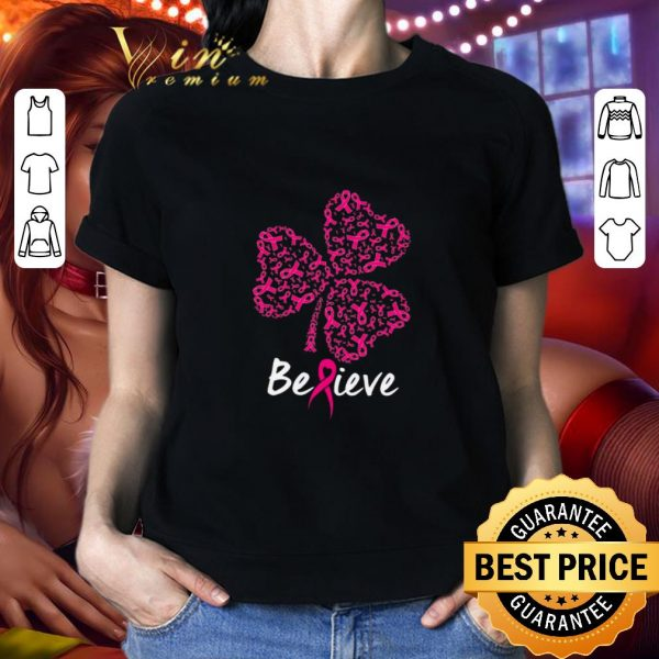Official Breast cancer Awareness believe shamrock St. Patrick's day shirt