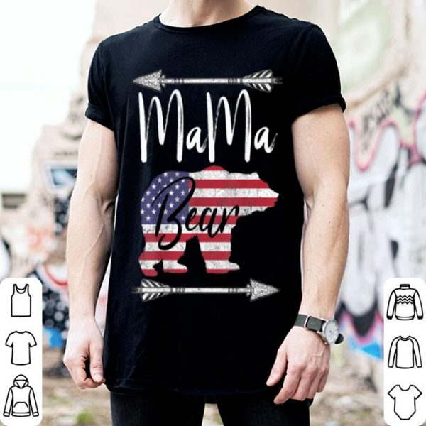 Top 4th Of July For Women Mama Bear American Flag Usa Mom shirt