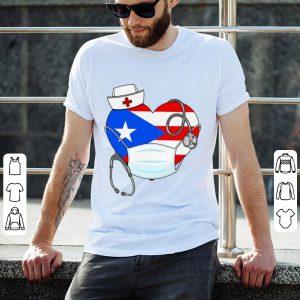 Awesome Puerto Rico Flag Heart Nurse Stethoscope shirt