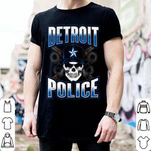 Detroit Michigan PD Policeman Graphic Skull Guns Thin Blue shirt