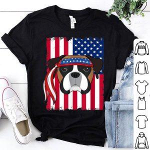 4th Of July American Flag boxer Dog shirt