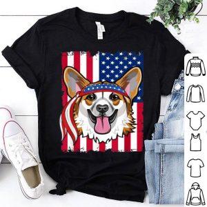 4th of July American Flag USA corgi Dog shirt