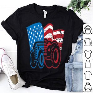 American Flag Tractor Vintage 4th of July Farming shirt