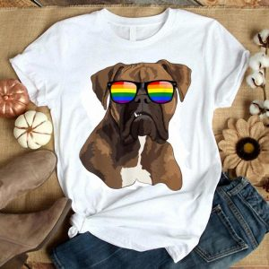 Boxer Dog Face Rainbow Sunglasses Gay Pride Lgbt Gift Shirt