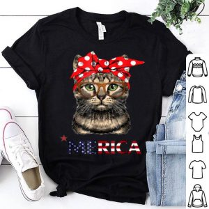 Cat Mom Usa American Flag Women's In 4th Of July Shirt