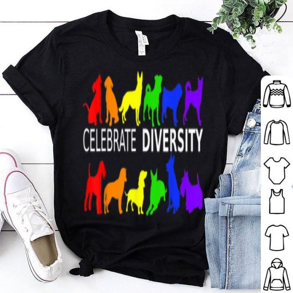 Celebrate Diversity Dog LGBT Gay Pride Rainbow Gift Shirt