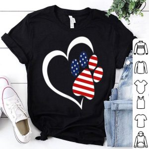 Dog Paw Hear Love Red White Blue American Flag Patriotic shirt