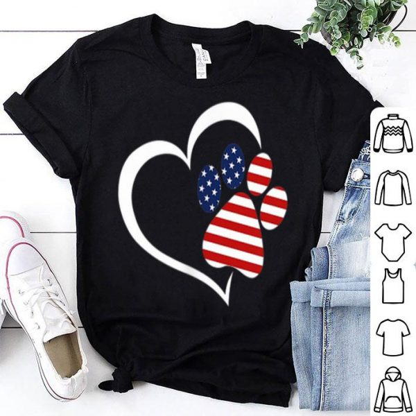 Dog Paw Hear Love Red White Blue American Flag Patriotic shirt