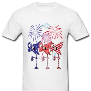 Flamingo American Flag Red White Blue Firework Happy Independence Day shirt