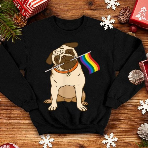 Gay Lesbian Pride Pug LGBT Flag Shirt