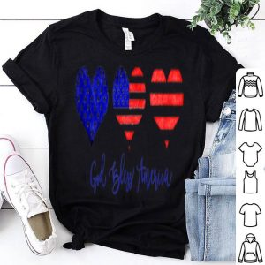 God Bless American Flag Hearts Watercolor Painted shirt