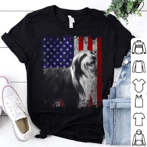 Patriotic Bearded Collie American Flag Dog Gifts Shirt