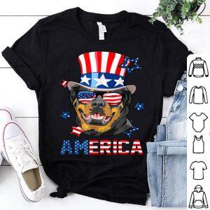 Rottweiler Dog America 4th of July Womens Mens USA Flag shirt