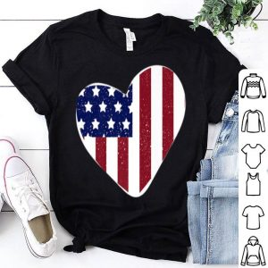 USA Flag Heart 4th of July Heart American Flag shirt
