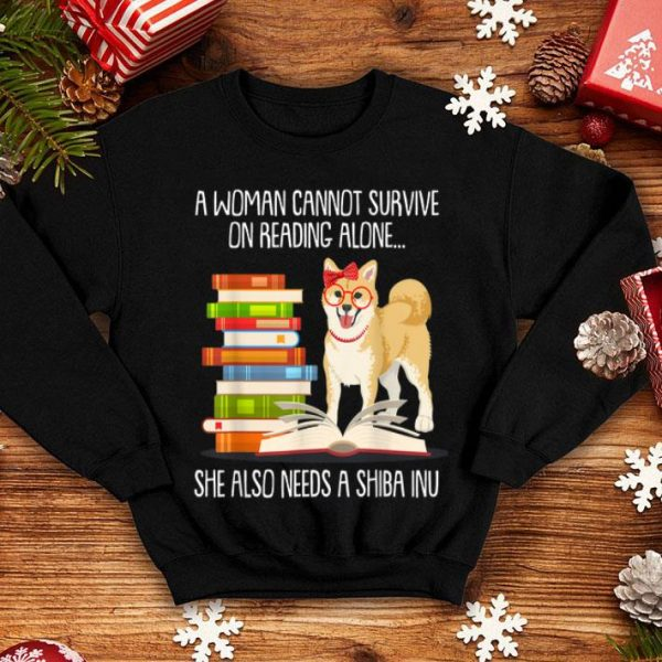 A Woman Cannot Survive On Reading Alone.. She Also Needs A Shiba Inu shirt