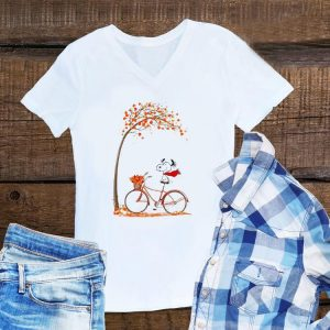 Aweome Snoopy riding bicycle autumn leaf tree shirt