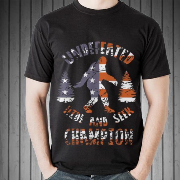Aweome Undefeated Hide And Seek Champion Bigfoot America Flag shirt