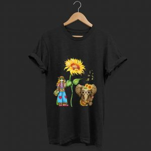 Awesome Hippie Girl Sunflower Elephant Guitar shirt