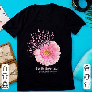Hot Faith Hope Love Breast Cancer Awareness Pink Daisy Flower shirt