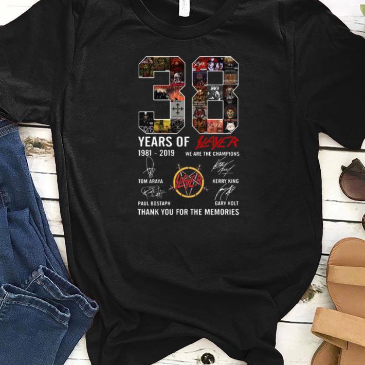 Nice 38 Years Of Slayer 1981 2019 signature shirt 1 - Nice 38 Years Of Slayer 1981-2019 signature shirt