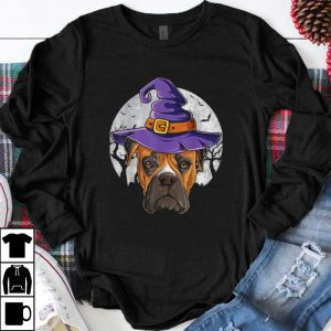 Nice Boxer Witch Hat Funny Halloween Gifts Dog Lover Girls Women shirt