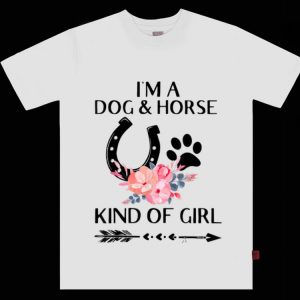 Nice I'm a Dog and Horse Kind of Girl Paw Flower shirt