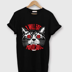 Official I Will Eat Your Soul Satanic Cat Spooky Halloween shirt