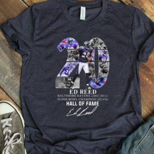 Original 20 Ed Reed Baltimore Ravens 2002-2012 Super Bowl Champion Hall Of Fame shirt