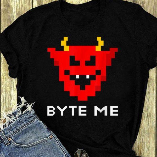 Original Halloween Pixel Devil - Funny Byte Me Retro Gaming Satan shirt