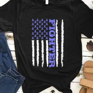 Pretty Fighter Cancer Awareness American Flag shirt