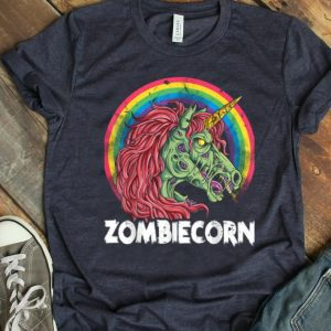 Top Zombiecorn Zombie Unicorn Halloween Women Rainbow shirt