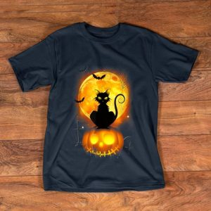 Awesome Black Cat On Pumpkin Halloween Moon Costume shirt