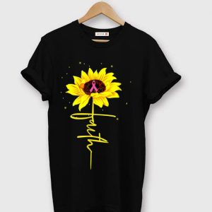 Awesome Breast Cancer Awareness Faith Sunflower shirt