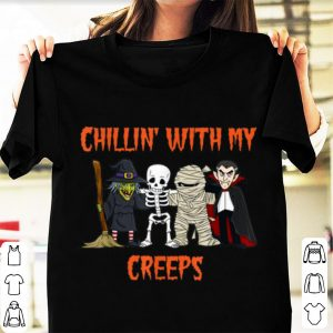 Awesome Chillin With My Creeps Halloween Vampire Skeleton Witch shirt